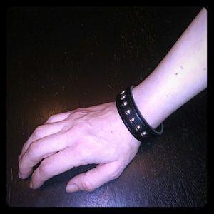 Goth Punk Metal Silver Studded Black Cuff Bracelet